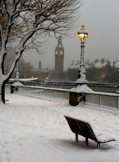 The South Bank in the snow.