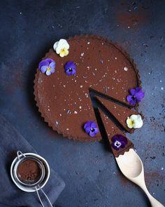 Chocolate Earl Grey Tart with Sea Salt | @thepolkadotter on Instagram