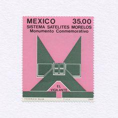 The Watchman. Morelos Memorial Satellite System (35.00). Mexico, 1985. Design: Federico Silva. #mnh #graphilately