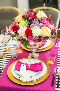 Kate Spade inspired reception, photo by Anneli Marinovich Photography http://ruffledblog.com/kate-spade-inspired-wedding-event #weddingreception #placesetting #centerpieces