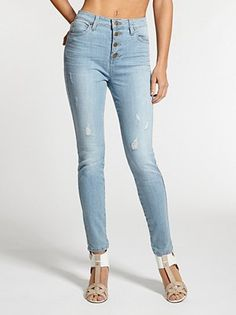 1981 High-Rise Button-Front Skinny Jeans in Otis Wash at Guess