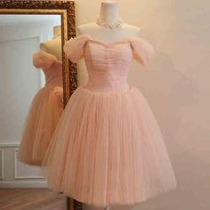 2015 New Arrival Cheap Knee Length Party Prom Dresses Ball Gown Off Shoulder Lace Up Tulle Bridesmaid Dress Pink from Cawsky,$42.37 | DHgate.com