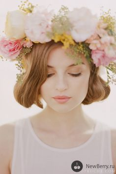 Flower crown, beautiful makeup