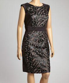 eb111100085 R M Richards Black   Tan Flourish Sheath Dress - Plus. Another great find  on  zulily!