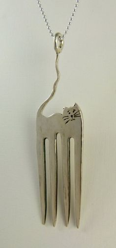 Cecilia The Fork Cat - Up Cycled Sterling Fork -  Echo Friendly - Art Jewelry Pendant - 1279