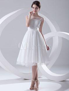 Vestido de casamento Chiffon Floral de pescoço de Bateau a linha branca para noiva