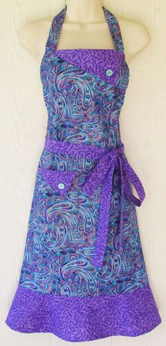 Retro Style Paisley Apron, Womens Full Apron, Blue and Purple, Jewel tones, KitschNStyle