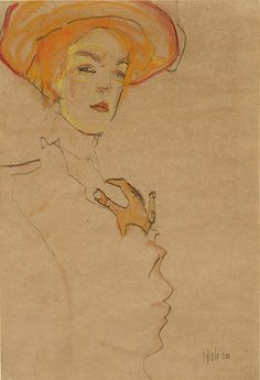 Egon Schiele: title unknown [portrait of woman in hat], Line drawing with watercolour. Expressionism.