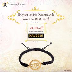 Make #Dussehra festival brighter with #LordRam #Bracelet at #Jewelslane!! Get 8% OFF on any purchase of Rs. 7500/ & above. Order today!