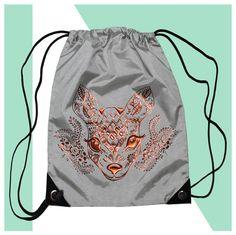 Turnbeutel - Sportbeutel   REH  grau mit Spruch - ein Designerstück von KOAHEA bei DaWanda