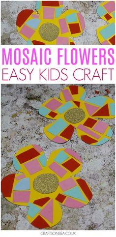 This easy mosaic flower craft looks super pretty but there's lots of skills behind it for kids too! Perfect for toddlers of preschoolers to practice their scissor skills, this would make a great spring craft for kids too! #kidscrafts #spring #preschool #finemotor #flowers