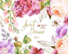 Dulces sueños: 28 elementos de la acuarela invitación de la