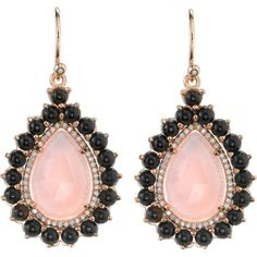18k rose gold earrings set with 15x10mm rose cut pink opal surrounded by black onyx and pave diamonds