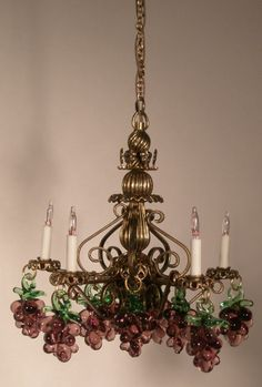 Italian Glass Grape Chandlier by J.Getzan - $165.00 : Swan House Miniatures, Artisan Miniatures for Dollhouses and Roomboxes