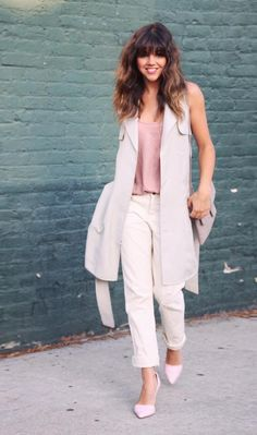 Crushing on this look by Bénédicte Castillo, light layers of Banana Republic blush tones