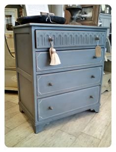 Painted with Chalk Paint® decorative paint by Annie Sloan. Beautiful chest with lovely lines on the drawers done by Annie Sloan Stockist Jayne at Blakes in Brighton, Sussex