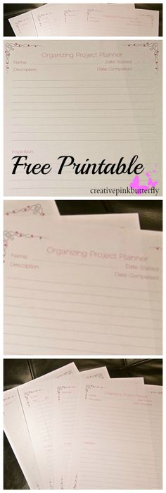 Organizing Project Planner Printable | Creative Pink Butterfly