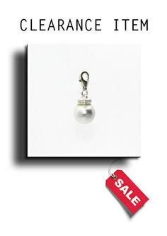 925 Silver Simulated Pearl & Cubic Zirconia Charm.