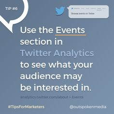 Twitter Analytics Events can help you learn more about your client's interests #tipsformarketers #socialmediastrategy #twittermarketing Marketing Tools, Social Media Marketing, Digital Marketing, Pinterest Marketing, Events, Ads, Learning, Twitter, Studying