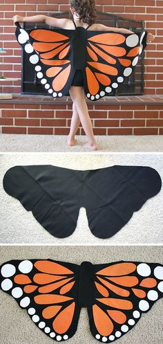Felt Monarch Butterfly Wings | Click for 30 DIY Halloween Costumes for Kids to Make | DIY Halloween Costumes for Toddlers