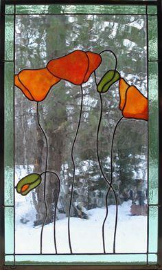orange poppy stained glass