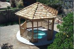 Cedarshed gazebos are an elegant shade structure for in ground and above ground hot tubs. Cedarshed.com #gazebos #gazebokits #cedarshed #cedar #hottub
