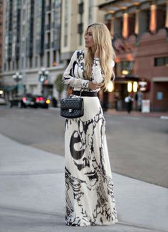 White & black maxi dress with sleeves.
