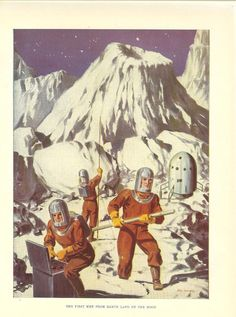 Vintage 1950's Childrens Print Astronauts On by printsandpastimes