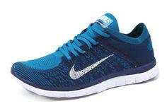 Free Shipping Only 69$ Nike Men Free 4.0 Flyknit Photo Blue Neo Turquoise White
