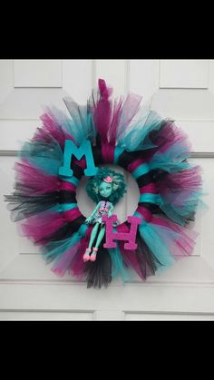 Monster High inspired wreath by BrynnsBowtique on Etsy