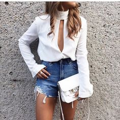 white blouse/shirt with denim cutoffs. dressy on top, casual on the bottom. Summer Outfits, Casual Outfits, Cute Outfits, Fashion Outfits, Womens Fashion, Denim Outfits, Denim Shorts, Cutoffs, Dress Fashion