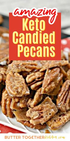 These incredibly easy keto candied pecans from Butter Together Kitchen are a quick and tasty way to enjoy a sweet treat on a keto diet! Cinnamon-y, nutty, and addictive! This is a great sweet and crunchy snack that anyone will love! #ketocandy #ketopecans #ketosnack #ketodessert #healthyrecipes #keto Keto Foods, Keto Snacks, Snack Recipes, Keto Desserts, Diabetic Snacks, Ketogenic Recipes, Kitchen Recipes, Ketogenic Diet, Sugar Free Recipes