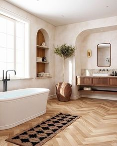 Bathroom Inspiration, Interior Design, House Interior, Hardwood Design, Curved Walls, Bathroom Interior Design, Home, Bathroom Design, Home Decor