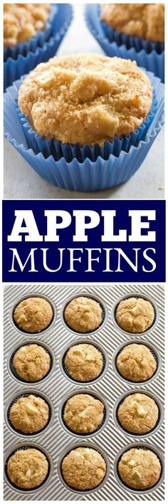 Apple Muffins are incredibly moist and full of cinnamon apple flavor. These are a tried and true favorite! Muffin Recipes, Apple Recipes, Brunch Recipes, Holiday Recipes, Dessert Recipes, Family Recipes, Dessert Bars, Cupcake Recipes, Bread Recipes