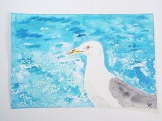 seagull portrait watercolor sea blue white green ooak art acid free paper ooak 10x15 beach surfer wedding ocean bird italy lasoffittadiste