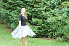 Self-drafted circle skirt in Liberty jersey www.jenni-smith.co.uk