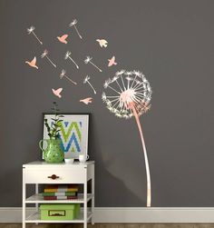 A whimsical, watercolour dandelion wall sticker will make a great feature on any wall in your home. Available in 4 stunning watercolours - Pink, Orange, Purple and Peach & Cream Includes 7 seeds and 8 birds with the option to purchase additional seed packs. Place each element individually to create a gorgeous display. Full instructions provided.This wall sticker is cut from high quality matte vinyl with a 5-7 year exterior life. It is suitable for interior and exterior use on walls, windo...