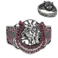 Bangle Western Bracelet Cuff Rhinestone Crystal Horse Shoe Cowgirl Pink Rodeo #sscollection #Bangle