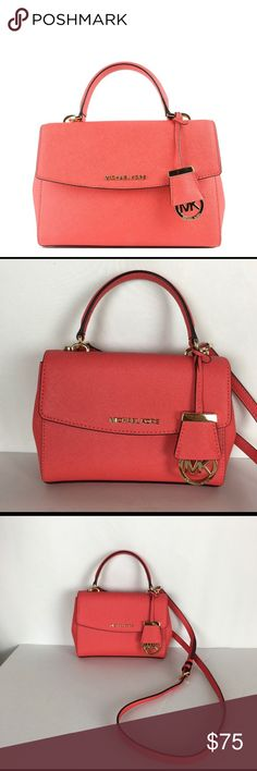 60dcc00b1ced Michael Kors Ava Small Saffiano Crossbody Michael Kors Ava Small Saffiano  Crossbody Satchel Coral Reef.