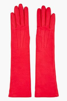 Lanvin Long Red Leather Gloves