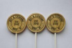 Destination wedding lollipops by Vintage Confections