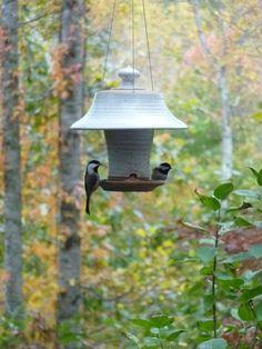 Large Stoneware Bird Feeder- Safe outdoors year-round, birds love the perch!