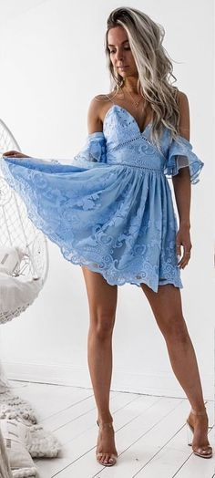 #fall #outfits Blue Lace Dress + Nude Sandals
