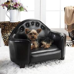 @Overstock.com - Enchanted Home Pet Black Headboard Pet Bed - Give your pet a stylish place to rest with one of these button-tufted pet beds.