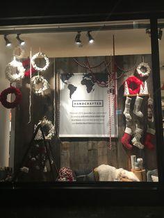 Christmas window #westelm #christmas #visualmerchandising #display #windows #stockings #handcrafted