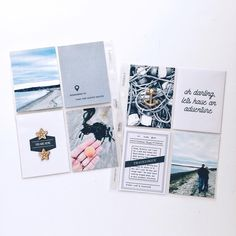 Simple and clean hybrid pocket scrapbook page on Instagram.