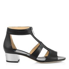 Black Embossed Striped Leather Chunky Heeled Sandals
