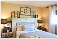 Old Painted Cottage bedroom - do a monogram like this one on old canvas and frame with 1x2s for rustic frame?