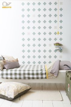 Bedding, wallpaper, cushions from Bibelotte Collection Forest