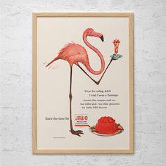 VINTAGE JELLO AD Pink Flamingo Poster by EncorePrintSociety